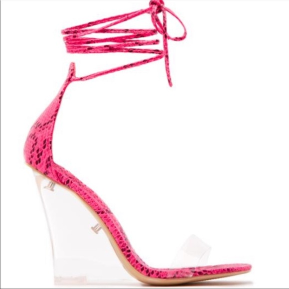 a4667ce1ca9 Riley magnetic snakeskin wedges in Pink Boutique